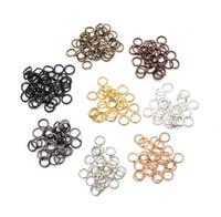 ingrosso fare anelli d'argento-JLN 200pcs Rame 4mm / 5mm Open Jump Rings Split Rings Connettori colore oro / nero / argento / bronzo per creazione di gioielli