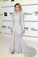 Wholesale Miley Red Carpet - New Miley Cyrus Oscars Mermaid Celebrity Dresses Crew Neck Long Sleeves Appliques Beads Glitz Evening Gowns
