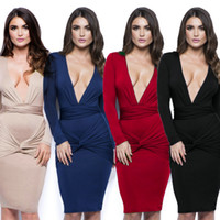Wholesale Sexy Dresses For Clubbing - Autumn Fashion Clubwear Sexy Club Dresses for Women Long Sleeve V-Neck Knee-Length Hip Package Bodycon Dress Four Color Options