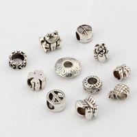 frieden perlen großhandel-Heiß ! 110pcs Antik Silber Legierung Mix Peace Mark. Schmetterling. Blume . Frösche usw. Große Loch Spacer Perlen passen europäischen Bead Armband