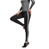 Wholesale Sports Trousers For Women - Sex Bodybuilding Sport girl Leggings for women white striped off black leggins Fashion trousers pants LWDK19 WR