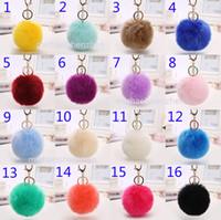Wholesale Rings Toy Bag - 20 Colors Rabbit fur ball plush key chain Keychain toys fashion lovely chain for car key ring Bag Pendant car keyring B001