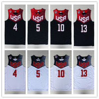 Wholesale Summer Tops Usa - Summer #4 Steph Curry Jerseys,2014 World Cup USA Dream Team Jersey Top Quality Throwback White Navy Blue Embroidery Logo