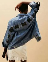 Wholesale Tie Denim Jacket - Wholesale- 2017 Spring New Woman Denim Blue oversized Jacket Back with Metallic Black Lace-up self tied BOW Front Pockets