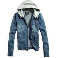 Wholesale Winter Jeans For Men - Fall-New 2015 Mens Hooded Denim Jacket Casual Jeans Jacket Outwear Winter Coats Jacket For Men Plus Size M--3XL