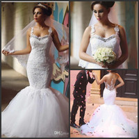 Wholesale casual beach wedding gowns - 2016 Sexy Beach Ivory Lace Applique Beaded Tulle Bridal Trumpet Bridal Gowns Casual Western Wedding Dresses