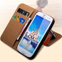 Housse en cuir véritable 1pc 2 Styles coréenne Samsung Galaxy S3 i9300 III flip Phone Cases Card Holder Wallet Stand Back Cover