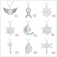 Wholesale Metal Charms Pendants Wings - NOOSA Metal Moon Angel's Wings Pendant Charm Necklace Ginger Snap Button Necklaces For Women Snaps Jewelry 316L Stainless steel Chain