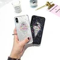 Wholesale Powder X - For iPhone X iPhone 8 Plus 7 6s Transparent Powder Black Star Ice Cream Pattern High Quality TPU Soft Case with Retail Package Free Shipping