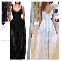 Wholesale Ladies Designer Maxi Dresses - 2015 Hot sleeveless maxi dress for women fashion designer sexy black and white lace backless long beach party club dresses for ladies