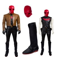 Wholesale Custom Batman Mask - Batman Super Hero Red Hood Jason Peter Todd Cosplay Costume High Quality Outfit With Mask Any Size