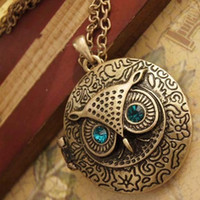 Wholesale Bronze Owl Locket Necklace - Necklaces Pendant for Women Fashion Jewelry Antique Bronze Blue Eye Owl Locket Retro Long Chains Necklace Pendant