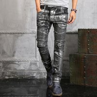 Wholesale Stretched Oil Paintings - 2016 NWT BP Men's Fashion Runway Shiny Silver Coated Oiled Stretch Slim Black Biker Washed Jeans Size 28-38 Jeans 9122