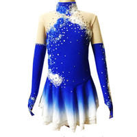 Wholesale Blue Ice Skating Dresses - Full Sleeve Blue Designer Ice Skating Dress Spandex Custom Made 100% High Quality Beaded Ice Dancing Dress