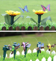 Wholesale Dancing Solar Toys Wholesale - 12pcs Solar Powered and Battery combo Dancing Flying Butterfly Humming Bird Garden Decoration Ornaments Novelties Children Education Toy