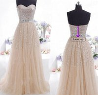 Wholesale Strapless Chiffon Sweetheart Evening Dress - Elegant Cheap ready to ship sweetheart free shipping evening dresses 2016 champangne sequined formal evening gowns long women wedding dress