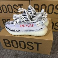 Wholesale Wholesale Men Boots - 2017 350 Boost V2 Zebra Releases Running Shoes Sneakers Sply Boost 350V2 Kanye West 350 Boosts White Black Red With Original Box CP9654