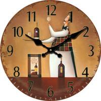 Wholesale Cheap Mechanical Clocks - Wholesale- 2016 Kitchen Decoration Vintage Chef Retro Antique Wooden Wall Clock Kitchen Modern Design Cheap Large Restaurant Wall Clocks