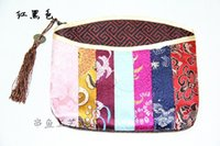 Wholesale Silk Favor Pouch - Unique Women Patchwork Small Bag Christmas Wedding Party Favor Zipper Coin Purse Chinese Silk Brocade Tassel Makeup Storage Pouch for Gift