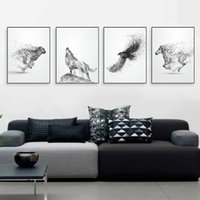 pintando animal selvagem venda por atacado-Tinta branca preta Animal Selvagem Cavalo Lobo Águia Poster Nordic Sala de estar Parede A4 Art Print Imagem Home Deco Pintura Da Lona Sem Moldura
