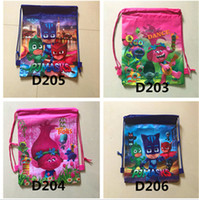 Wholesale Kids Style Shoulder Bag - 2017 Trolls Kids Backpacks Moana Cartoon Nylon Woven Sling Bag 7 Style School Bags Girls Party Xmas Gift Fast Shipping