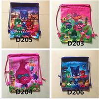 Wholesale Wholesale Woven Nylon Bags - 2017 Trolls Kids Backpacks Moana Cartoon Nylon Woven Sling Bag 7 Style School Bags Girls Party Xmas Gift Fast Shipping