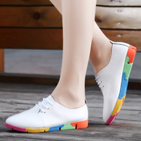 Wholesale Leather Oxfords For Women - 2016 New Genuine Leather Women Shoes Casual Oxford Shoes For Women Flat Shoes Ladies Lacing Loafers Zapatos Mujer