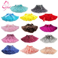 Wholesale Dance Blouses - Free Shipping 2-18 Years Fluffy Chiffon Pettiskirts Baby 14 Solid Colors tutu skirts baby girls Princess Dance Party Tulle Skirt