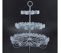 Wholesale Iron Stocking Holders - Cupcake Holder Wedding Decoration Dessert Display 3 Tiers White Lace Iron Cake Stand Can Hold 22 Cakes