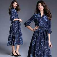 Wholesale Denim Skirts For Women - Floral dresses for European and American new fashion printing denim skirt retro elegant dress for women