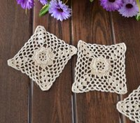 Wholesale Make Table Mats - Wholesale- Free shipping 100% cotton hand made Crochet Doily , cup mat ,table mat ,appliques Square with 10CMX10CM 20PCS LOT CD057
