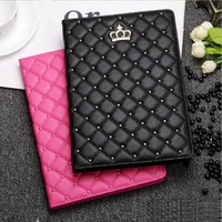 Estuches Para Ipad Mini Baratos-Lujo Rhinestone Crown PU Leather Tablet estuche para iPad 2 3 4 5 6 iPad mini 1 2 3 ipad mini4 con soporte a prueba de golpes Dormancy Cover cases