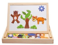 Wholesale Wooden Magnetic Drawing Board - Wholesale-2016 Double-sided magnetic drawing board Children's educational toys wooden puzzle Cartoon plane animals puzzle