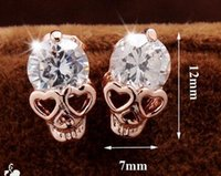 Wholesale White Cz Earrings Dangle - Valentine's Day Trendy Earrings For Women's Girl's 18k Yellow Gold Plated CZ Diamond Skull Pierced Stud Earrings Jewelry Gift