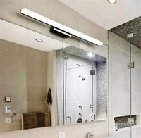 Wholesale Wall Mounted Makeup Mirrors - promotion modern style wall mounted 40CM 60CM 80CM 1M Acrylic LED bathroom mirror wall light lamp makeup lighting