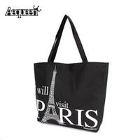 Wholesale Large Eiffel Tower - Wholesale-Women Canvas Handbag Large Space Zipper Shopping Travel Shoulder Bag Paris Eiffel Tower Pattern Girls Beach Bookbag Casual Tote