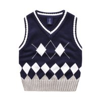 Wholesale Dimond Quality - Exported quality England style boys Dimond vest All-matched Baby clothes kids sweaters children Autumn winter v-neck 100-140cm