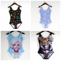 Wholesale Sexy Tiger - Sexy Beachwear One-Piece Women Swimsuit Breathable Slim Bathing Set Green Eye Tiger Swimming Wear Blowing Bubbles Super Mary Mario LNSst