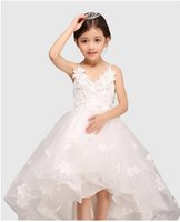 Wholesale Glitz Pageant Dress Hi Lo - Glitz White Spaghetti Straps Princess Flower Girl Dress For Weddings Girls Party Pageant Dress With Long Train For Baby Girls