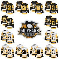 Youth Pittsburgh Penguins 50th Patch 2017-2018 23 Scott Wilson 25 Tom Sestito 28 Ian Cole 34 Tom Kuhnhackl 43 Conor Sheary Hockey Maglie