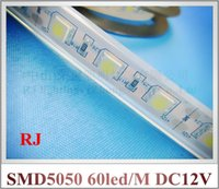 Wholesale Silicon Tube Led Strip Lighting - silicon tube waterproof IP65 SMD 5050 LED strip light flexible LED soft strip DC24V DC12V SMD5050 60led M 5M roll 300led CE ROHS