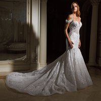 Wholesale Sexy Eve - 2018 Eve of Milady Lace Mermaid Wedding Dresses Sexy Backless Misses Crystal Beaded Sweetheart Tiered Skirts Bridal Gowns