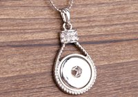 Wholesale Lock Pendant Necklace - Interchangeable DIY Jewelry 18mm Ginger Snaps Jewelry With Lock Shape Metal Snap Button Pendants Necklace(duanhua-1)