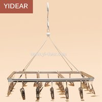 Wholesale Stainless Steel Drying Racks - Yidear 30x25cm Wall Shelf Rack Multifunctional Windproof 20 Clips Solid Frame Hanger Aluminium alloy Dry Socks Hanger