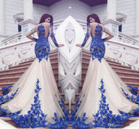 Wholesale Sexy See Through Bateau Mermaid - 2017 New Dubai Mermaid Prom Dresses Royal Blue Lace Appliques Sheer Sexy See Through Back Long Sleeves Vestios De Fistea Evening Gowns