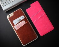 funda delgada para iphone al por mayor-2016 Ultra-Delgado Portatarjetas de Crédito de Cuero de LA PU Autoadhesiva Stick-on Cartera Smart Back Cover Card Bolsillo de Bolsillo 2 Ranuras para iPhone 6s Plus S7