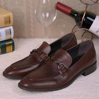 Wholesale Men Office Shoes Brown - 2017 New Mens Shoes Oxford Office Shoes For Men High Quality Mens Dress Italian Genuine Leather Shoes Black Brown Business Wedding Dress