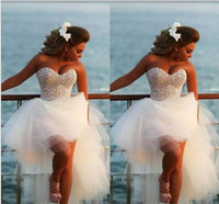 Wholesale Puffy White Corset Wedding Dresses - Hi Lo Dresses with Beads Sweetheart Corset Puffy Tulle Skirt Fashion wedding Party Gowns Formal bride Wear Pageant Dresses