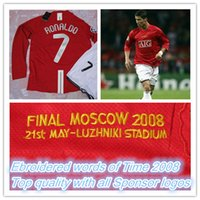 Wholesale Seasons Soccer Jersey - Final Moscow 2008 champions league home red long-sleeved jerseys,07 08 season #7 Ronaldo Retro soccer jersey shirt
