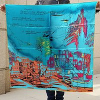 Fashion Town Pattern Design Women Square Chal, 100% Mulberry Silk Satin Lady Bufanda, Mujeres de alta calidad Graffiti impreso Blue Scarves, 90 * 90